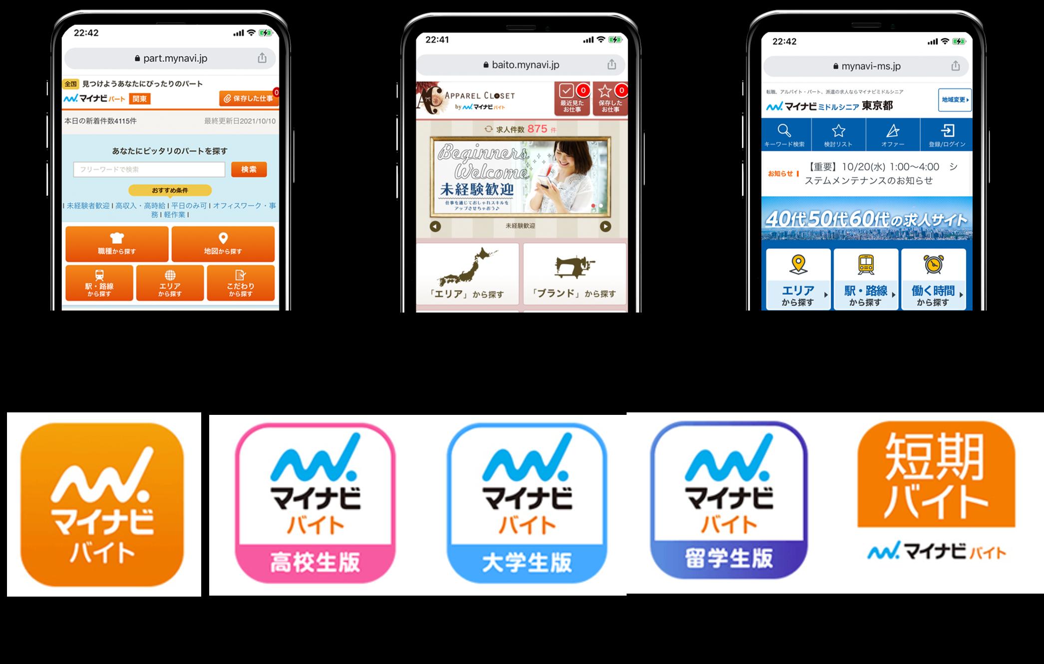「マイナビバイト」だけじゃない!7種類の姉妹サイト・アプリ